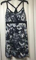 $88 90 Degree By Reflex Athletic Yoga Dress Black/gray Floral Print.sz:l
