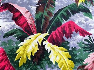 Leafy Art Deco Jungle Barkcloth Vintage Fabric Drape Curtain Miami Beach PILLOWS