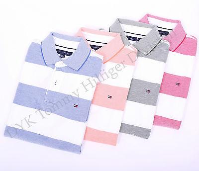 Tommy Hilfiger Men Mesh Pique Oxford Stripe Polo Shirt Custom Fit - Free $0 Ship