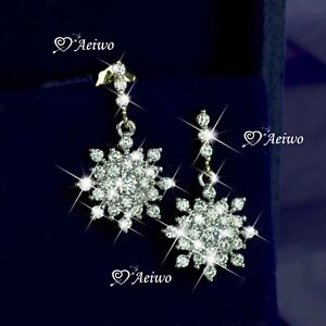 Details About 18k White Yellow Gold Gf Made With Swarovski Crystal Stud Snowflake Earrings