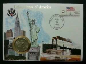 [SJ] USA United States of America Liberty 1985 Flag Nation FDC (coin cover)