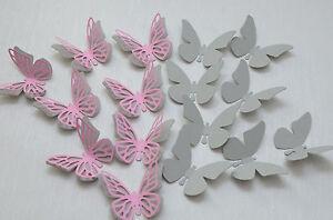 16 Set 3d Schmetterlinge Hell Grau Rosa Wandtattoo Wanddeko Ebay