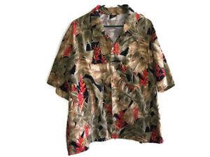 Toucan-Dance-Hawaiian-Shirt-XL-Extra-Large-Men-039-s-Leaves-Plants-Flowers-Cotton