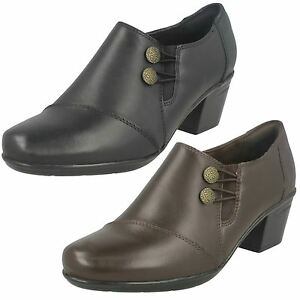 da8a234e38a Details about Ladies Clarks Emslie Warren Black Or Dark Brown Leather Smart  Heel Trouser Shoes