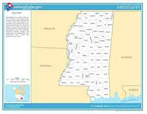 Mississippi State Counties Laminated Wall Map