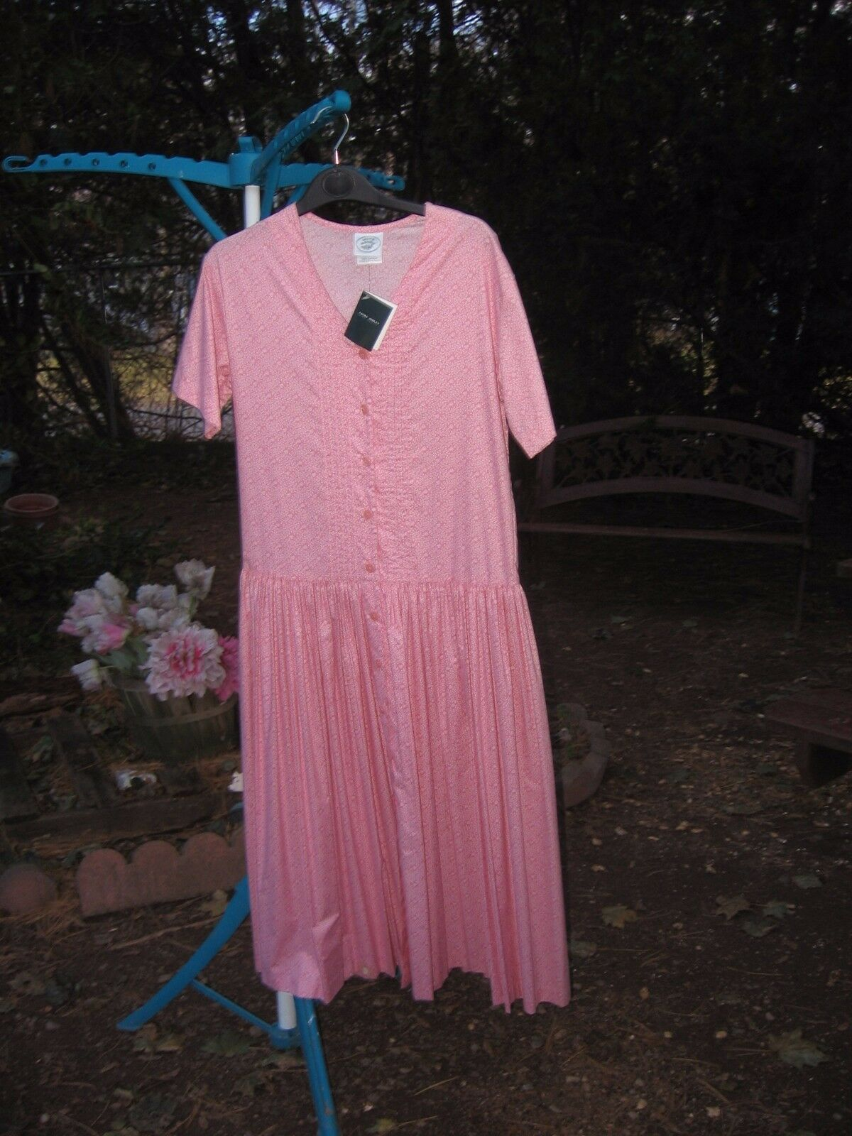 Laura Ashley Pink Sycamore print Drop-Waist dress Size 4   FREE S H