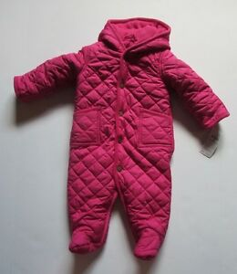 9c7e7f80f NWT Ralph Lauren Pink Snowsuit Quilted Fleece Lined Bunting Girls 6 ...