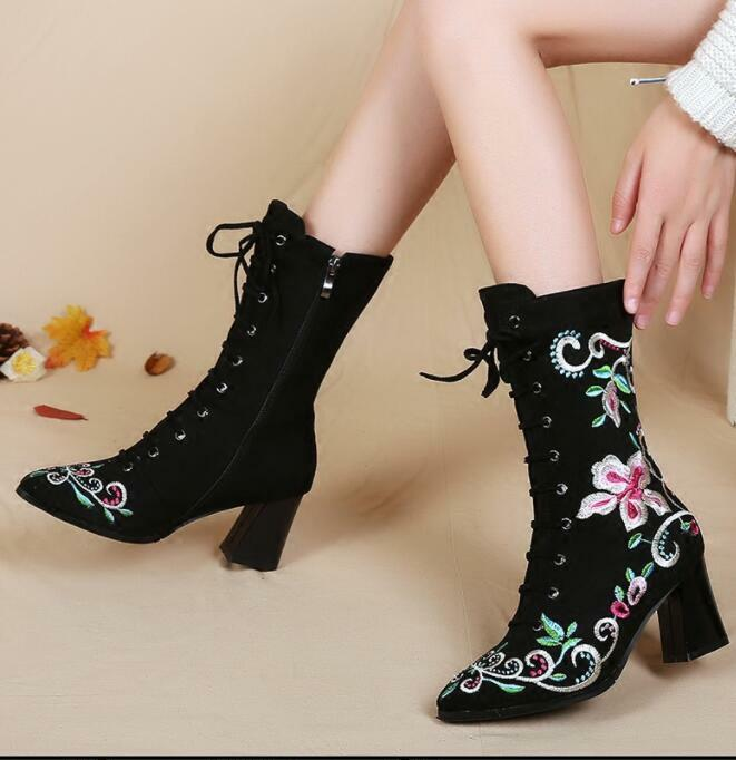 17 Lady Embroidered Floral Ridding Suede Lace Up Pointed Toe Heel Mid Calf Shoes