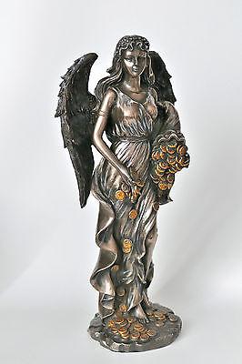 engel,göttin,fortuna,bronziert,28x13cm,figur,statue,füllhorn,polyresin,glück