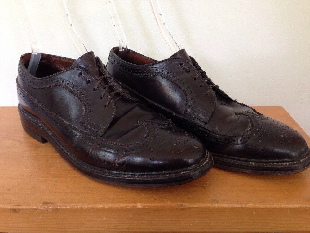 Vintage Mens Dark Brown Leather Sole Dress shoes Wingtip Brogues Oxfords 11.5 46