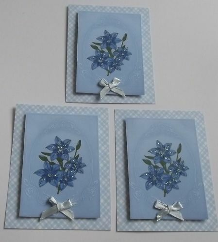PK 3 PRETTY BLUE LILYS TOPPERS EMBELLISHMENTS FOR CARDS