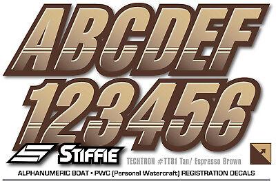 STIFFIE Techtron TT22 Boat PWC Letter Number Decal Registration BLUE SILVER