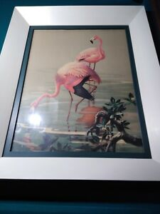 ROGER-TORY-PETERSON-XRARE-Vtg-1946-Halftone-Litho-FLAMINGOS-Quaker-State-Litho