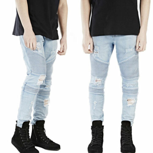 Men Ripped Designer  Combat Blue Stretch Denim Jeans Casual Pants Skinny Frayed
