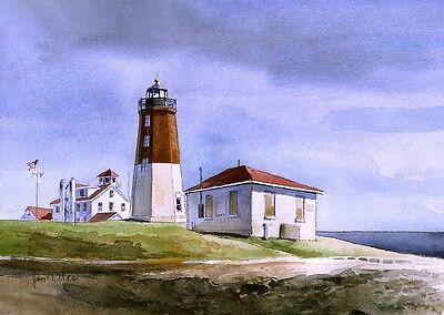 James Mann Watercolor Prints Thirty Mile Point Lighthouse Lake Ontario New York