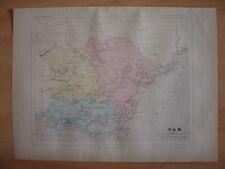 CARTE départementale du VAR c1880 Draguignan Brignoles Toulon