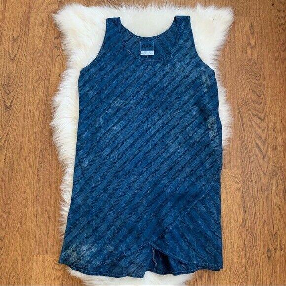 Women's Flax Blue Striped Floral 100% Linen Sleeveless Lagenlook Dress Size M