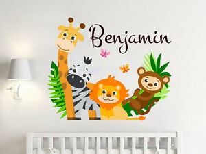 Personalize Name Sticker Full Color Safari Nursery Wall Murals Boys