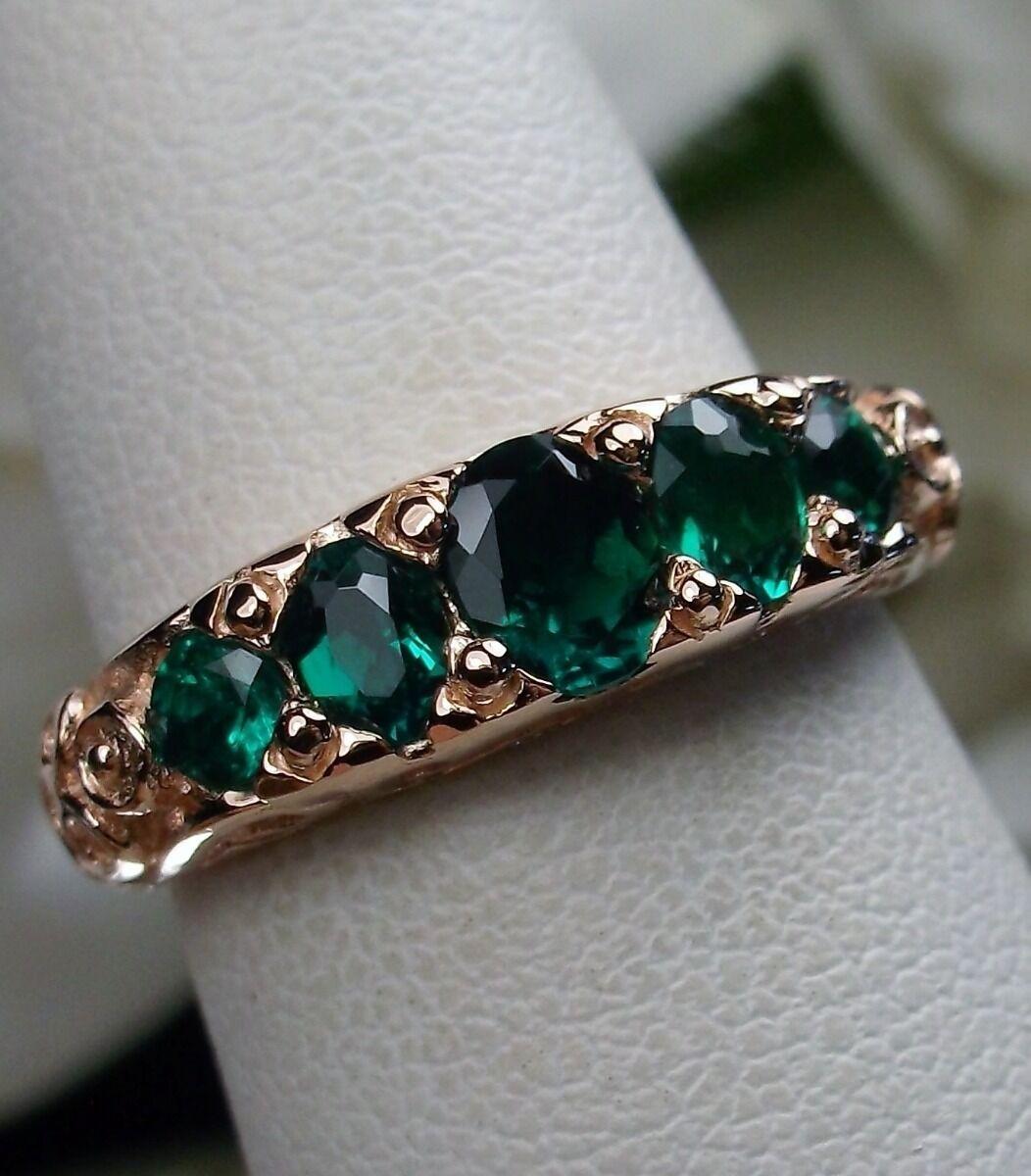 Natural Emerald Gemstone 10k pink gold Georgian Filigree Ring {Made To Order}