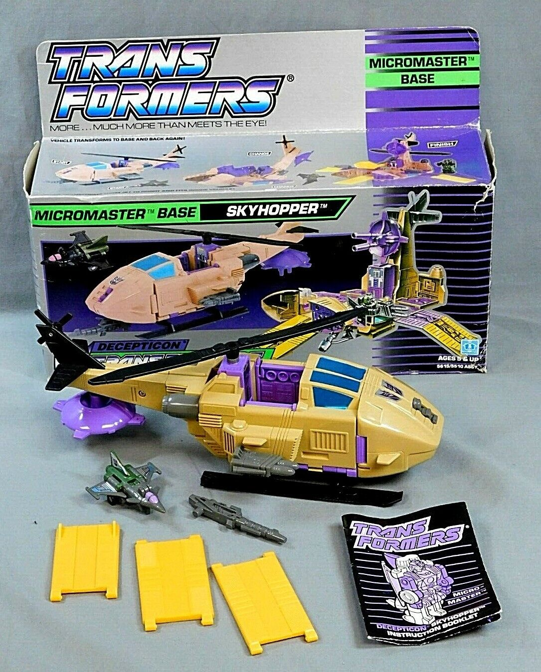 TRANSFORMERS G1 MICROMASTER BASE SKYHOPPER 1989 COMPLETE W ROUGH BOX HASBRO