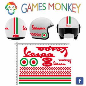 ADESIVI-CASCO-VESPA-Rosso-Kit-Strisce-Bandiere-Italia-Cerchio-Helmet-VINILE