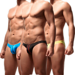 PM-Men-039-s-Sexy-Stripe-Low-Rise-Thong-Briefs-U-Convex-Bulge-Pouch-Underwear-New