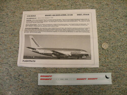 Flight Path  1//144 decals 44-56 Braniff 1984 white stripe Boeing 737-200  M100