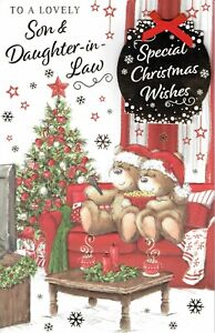SON AND DAUGHTER-IN-LAW ~ FABULOUS  EX-LARGE CHRISTMAS Card With 8 PAGE INSERT c
