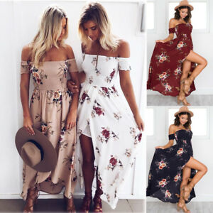 Boho-Womens-Holiday-Off-Shoulder-Floral-Maxi-Ladies-Summer-Beach-Party-Dresses