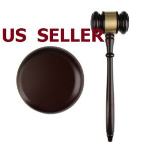 US SHIP Wooden Gavel Hammer + Sound Block for Lawyer Judge Auction Sale