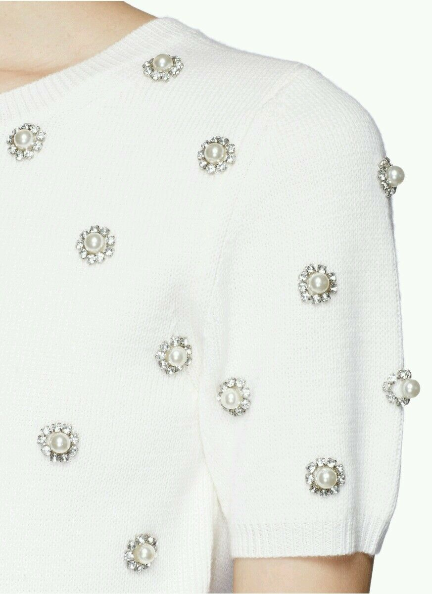 Alice + Olivia Bay Pearl Embellished Embellished Embellished Rhinestone Sweater Knit Top Wool Size S NEW 6cdef5