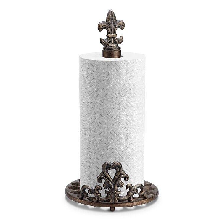 SPI Fleur de Lis Cast Iron Paper Towel Holder  FREE SHIPPING  NEW