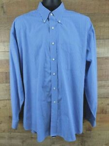 Tommy-Hilfiger-Dress-Shirt-Long-Sleeve-Blue-White-Striped-Mens-Size-18-034-36-37