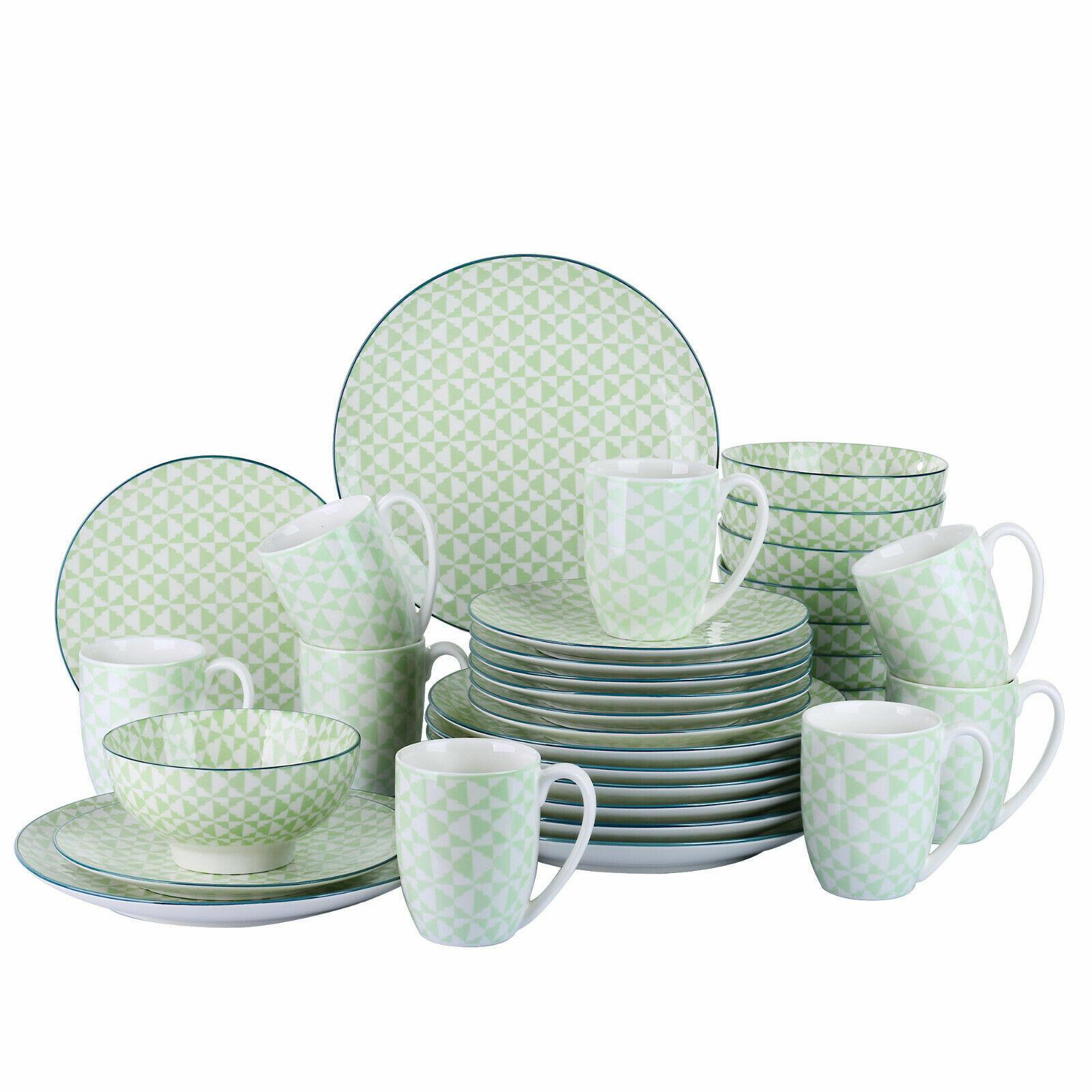 Set da cena 16pc porcellana piatti ciotole stoviglie stoviglie 8 coperto verde