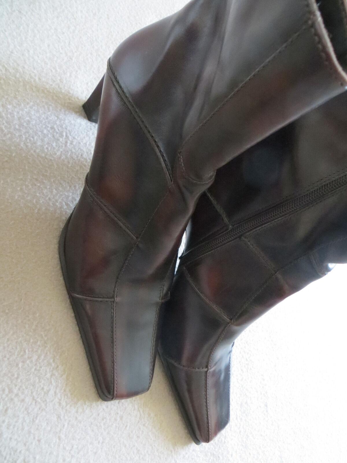 Trendy moderne schicke Stiefelette, Leder, Gr. 41, dunkelbraun, neu, Leder, Stiefelette, Absatz cbff98