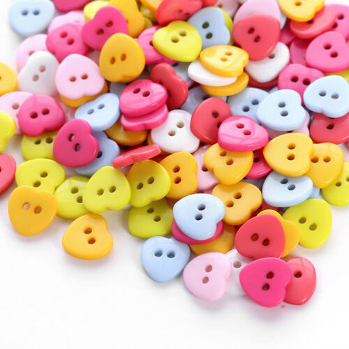 24pcs//Bag Heart Mixed Colors Resin Buttons Fit Sewing or Scrapbooking FO