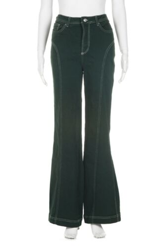 FREE PEOPLE High Waisted Jeans 28 Green White Flar