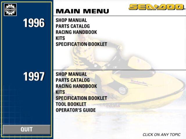 seadoo service shop manual 1997 sp spx gs gsi gsx gts gti gtx xp hx rh ebay com 1997 seadoo gsx parts manual 06 Seadoo RXP