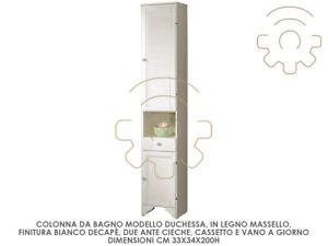 Colonna mobile bagno Duchessa cm 33x34x200 h 2 ante cassetto vano a giorno senza