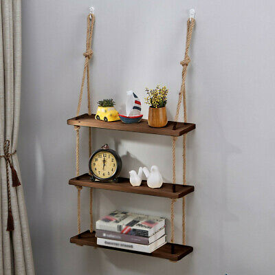 watch 7f8c5 34561 Rope Hanging Wall Shelf 3 Tier Floating Shelves Rustic Wood Mounted  Decorative* | eBay