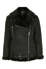 Topshop Faux Shearling Biker Jacket UK16 BNWT 85£