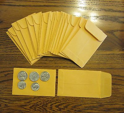 """40 UNIVERSAL KRAFT COIN ENVELOPES #1 SIZE 2.25"""" BY 3.5"""" WITH GUMMED FLAP"""