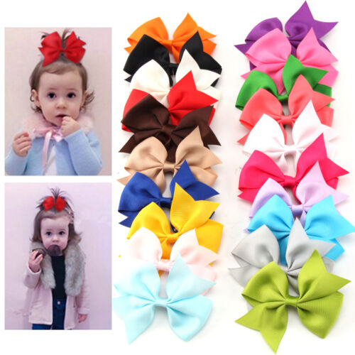 20 Pcs Boutique Hair Bows Girls Baby Grosgrain Ribbon With Alligator Clip Lot