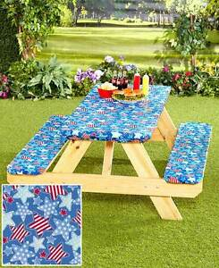 Image is loading Picnic-Table-Covers-3-Pc-Set-Elastic-Fitted-  sc 1 st  eBay & Picnic Table Covers 3 Pc Set Elastic Fitted Plastic Outdoor Table ...