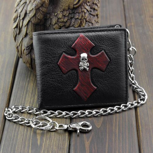 Goth Red Cross Biker Punk Leather Wallet Coin Purse for Mens or Boys