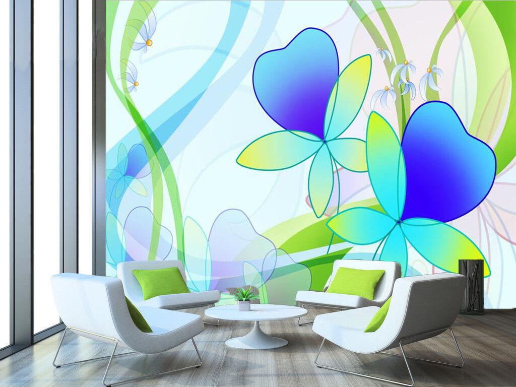 3D Blau Floral 7417 Wallpaper Mural Wall Print Wall Wallpaper Murals US Summer