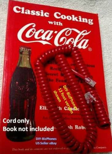 Cherry Red 12 Ft Phone Handset Cord Coil Curly Telephone Coca Cola Vintage RD