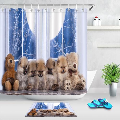 """HIVER de Poméranie Ours rideau de douche ensemble salle de bain Tapis Tissu Imperméable 72x72/"""""""