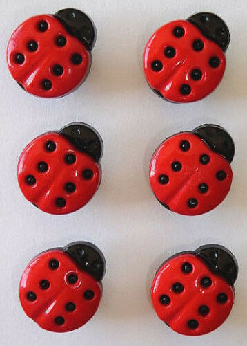 Six 15mm Ladybird Buttons Perfect for Your Child and Baby Makes!