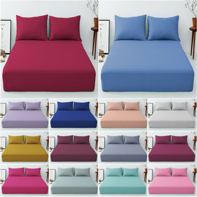 Poly Cotton Plum King Size Bed Sheets Non Iron Percale Extra Deep Fitted Sheets